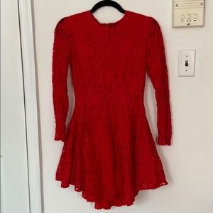 H&M Red Lace Skater Dress